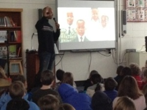Kadir Nelson speaking to students at Estes Hills Elementary School